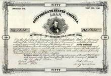 Confederate State of America Loan 1861 vignette of Thomas Bragg