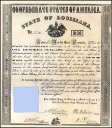 Confederate States of America State of Louisiana 1862
