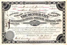 Denver City Consolidated Silver Mining Co. 1881 - Leadville, Colorado signed by J. Whitaker Wright