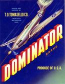 Dominator Crate Label - Spitfire WW II Airplane Image