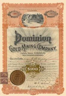Dominion Gold Mining Company 1901 - Hydraulic Mining Vignette
