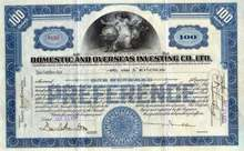Domestic and Overseas Investing Company, Ltd. 1929