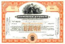 Dominion Stores (Lion + Bi Plane Vignette) Stock Certificate 1929