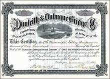 Dunleith & Dubuque Bridge Company 1890's signed by Stuyvesant Fish