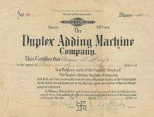 Duplex Adding Machine Company 1910 - Swastika Logo