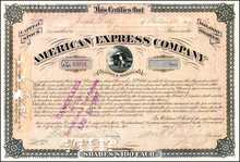 American Express Company Stock Signed by William Fargo - 1870's