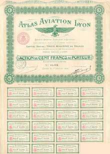Early French Aviation Stock Certificate 1918