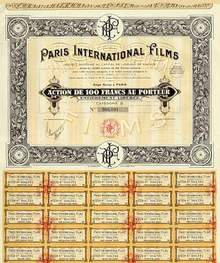 Paris International Films Stock Certificate 1927 - Silent Movies