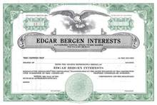 Edgar Bergan Interests Stock Certificate plus Signed Check
