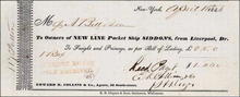 Shipping Receipt from Edward K. Collins & Co. 1846 - Packet Ship Siddons