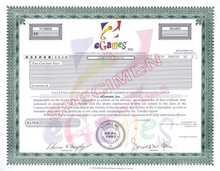eGames, Inc. - Specimen Stock Certificate