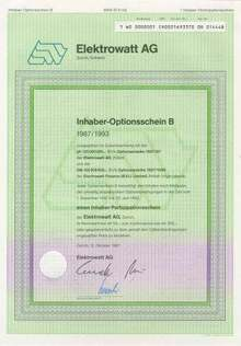 Elektrowatt AG Certificate - (Swiss Company now owned by Seimens)