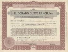El Dorado Guest Ranch, Inc 1929