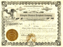 Ellington Farmers Telephone Company Stock 1910