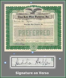 Elias-Katz Shoe Factories, Inc. 1927 - Signed by Hedda Hopper