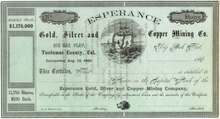Esperance Gold, Silver, and Copper Mining Company - Tuolumne, California