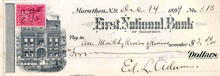 First National Bank of Marathon Check 1890's - New York signed by Edgar I. Adams