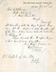 General Quincy A. Gilmore Letter 1861 to Col. Bowman at West Point