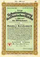 Historic WWII German Nazi War Bond 1941 -1943 100 Reichsmark