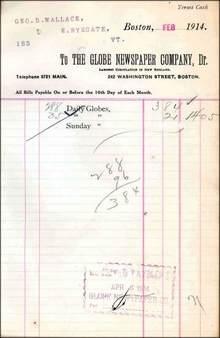 Boston Globe Newspaper Invoice 1914