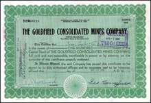 Goldfield Consolidated Mines Company signed by George Wingfield