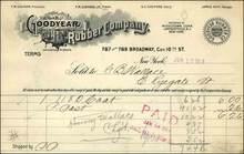 Goodyear Rubber Company Invoice 1913