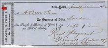 Freight Receipt from Grinell, Minturn & Co. 1852 for Ship London