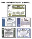 Historic 5 Certificate Package of New York Skyline and World Trade Center Vignettes