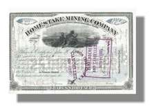 Homestake Mining Company signed by Founder - Dakota Territory 1887
