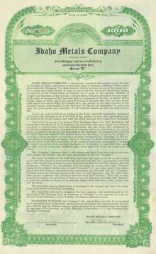 Idaho Metals Company Gold Bond - 1926