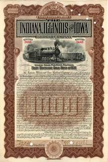 Indiana, Illinois and Iowa Railroad Company 1900 - Gold Bond