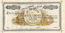 Inter Ocean Mining Company Eureka District, Colorado 1870's