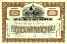 Insull Utility Investment, Inc. 1930's - hand signed by Samuel Insull Jr.
