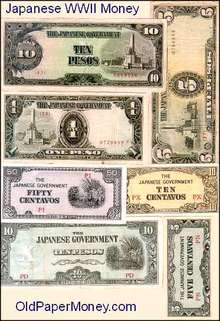 Japanese Occupation War Currency 1942 - WWII 7 Piece Set
