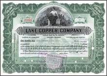 Lake Copper Company signed William Paine (Paine Webber founder) 1920's