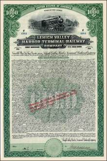 Lehigh Valley Harbor Terminal Railway Company 5% Gold bond - 1924