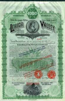 Lehigh Valley Railway Company 1890 - $1,000 Gold Bond