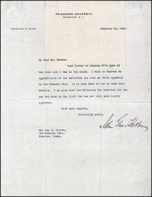 Letter signed by the President of Princeton University 1922