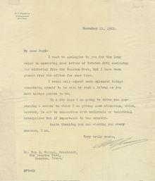 Signed Letter Written by B. F. Yoakum -1922