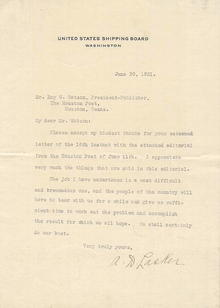 Letter Written by Albert D. Lasker - United States Shipping Board 1921