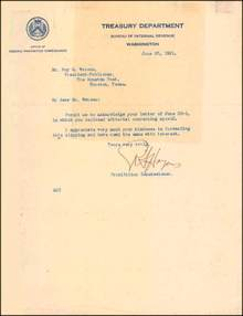 Letter Written by Royal C. Haines-Prohibition Commissoner 1922