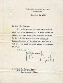 Letter Written by the Under Secretary of State Sumner Wells -1939