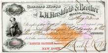 L. H. Hershfield and Brother Banking House Check 1881 - Imprinted revenue stamp
