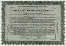 Lincoln Motor Company signed by Henry Leland and Nash 1920