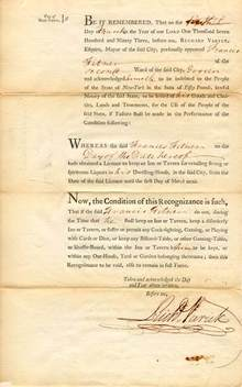 Liquor License New York City 1792 signed by Mayor, Richard Varwick