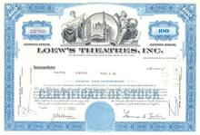 Loews Theatres Stock Certificate - L. Tisch