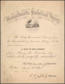 Massachusetts Historical Society 1860 signed by Robert Charles Winthrop