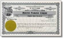 Maverick Production Company Stock Certificate