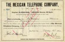 Mexican Telephone Company - 1882 signed by Franklin Delano - New York