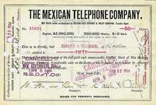 Mexican Telephone Company Stock Certificate - 1890's